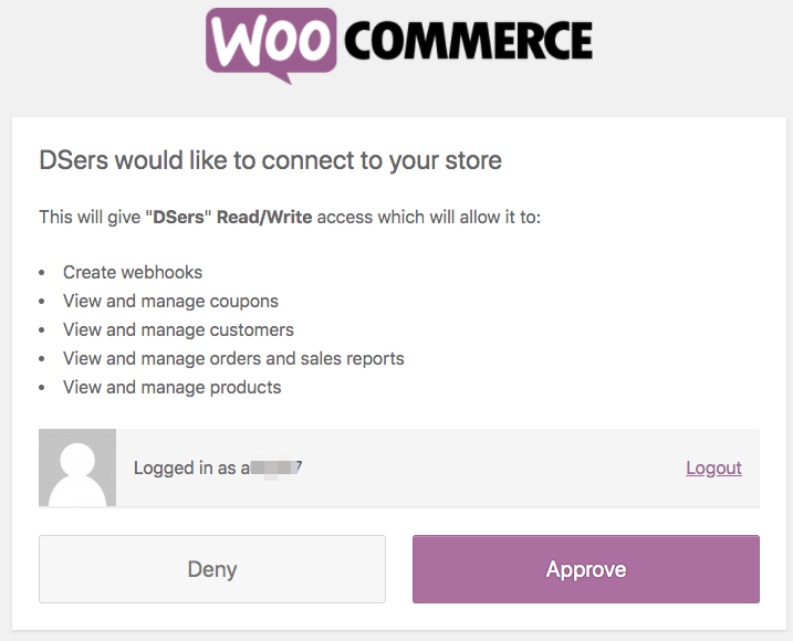 Link your WooCommerce store with Woo DSers - Grant Access - Woo DSers