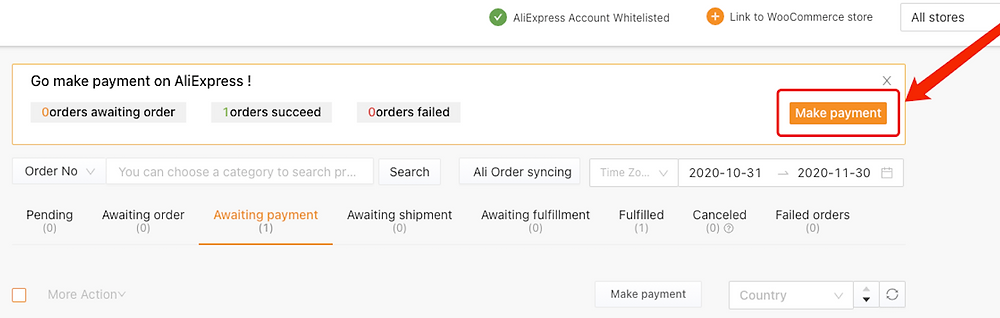 Place an order from WooCommerce to AliExpress with Woo DSers - Make Payment - Woo DSers
