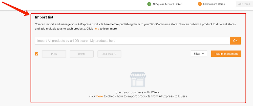 Import List with Woo DSers - Import List - Woo DSers