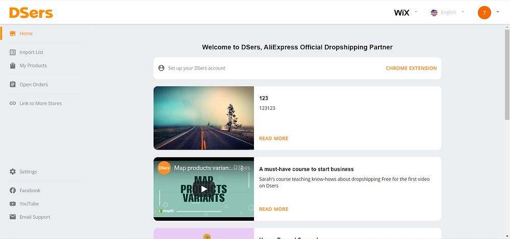 Link your Wix store with Wix DSers - DSers homepage - Wix DSers