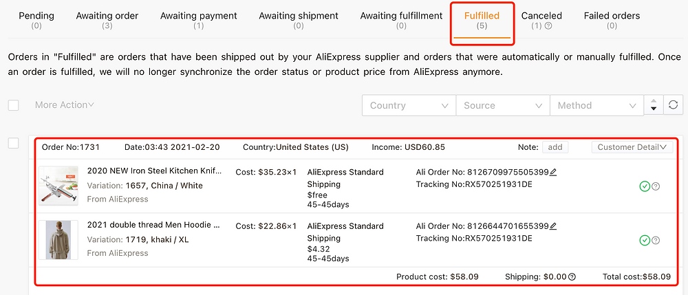 Awaiting fulfillment tab introduction with Woo DSers - Order in Fulfilled - Woo DSers
