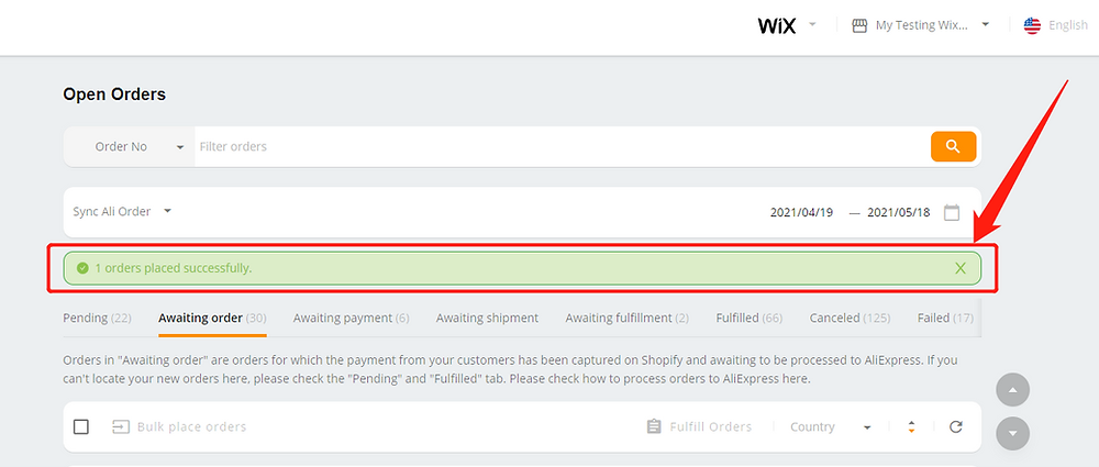 Fulfill an order from start to finish with Wix DSers - order placed successfully - Wix DSers