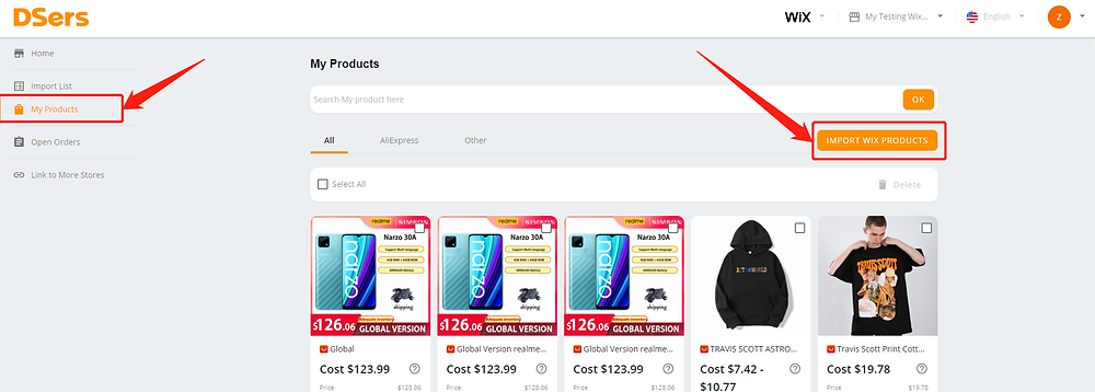 Import products from your Wix store with Wix DSers - import Wix products - Wix DSers