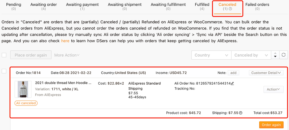 Re-order Awaiting payment orders on Woo DSers - Canceled tab - Woo DSers