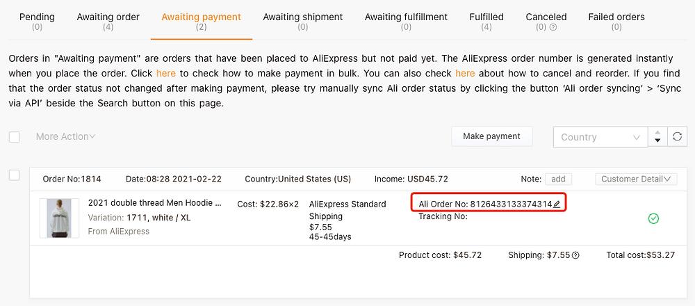 """Refazer pedido """"aguardando pagamento"""" com Woo DSers - 2 - Woo DSers"""