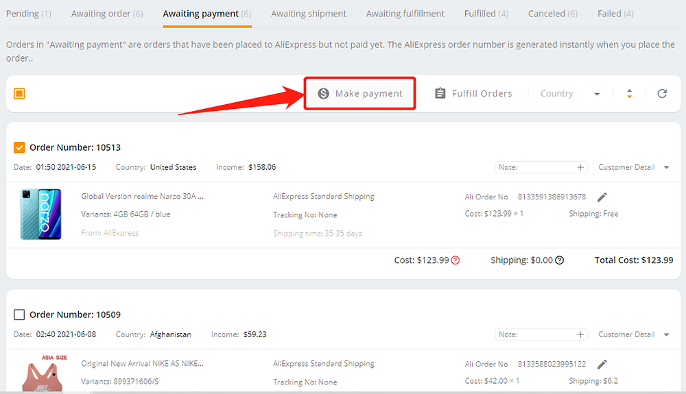 Pay an order on AliExpress with Wix DSers - make payment - Wix DSers