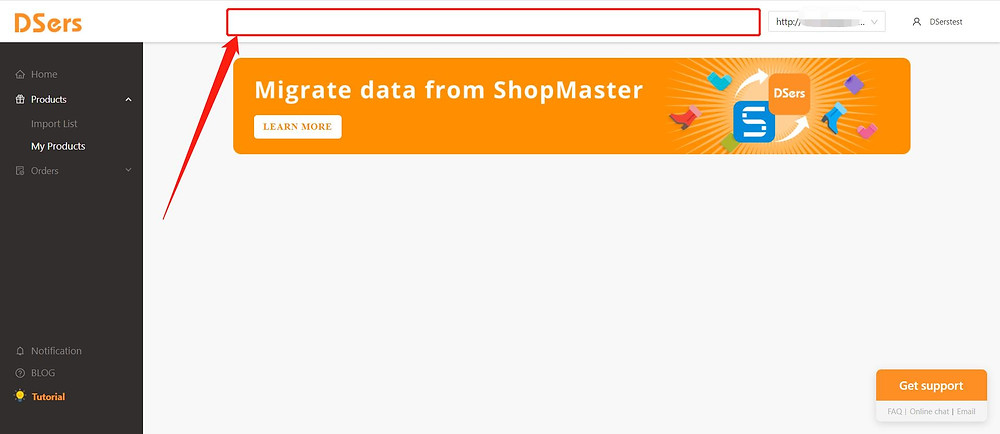 Add Staff Account to your Woo DSers - top bar of a staff account - DSers