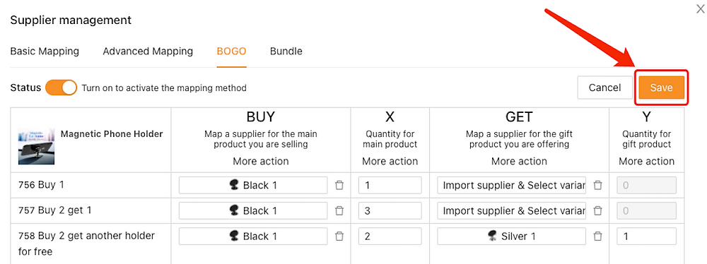 Create Buy One Get One offers with Woo DSers - Save BOGO Mapping - Woo DSers