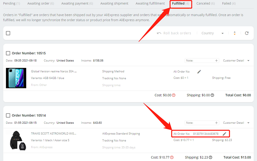 Fulfill an order from start to finish with Wix DSers - fulfilled tab - Wix DSers