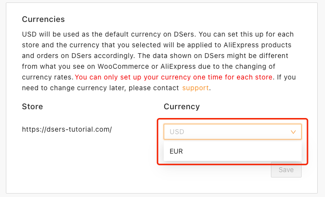 Change and set currency on Woo DSers - Select currency - Woo DSers