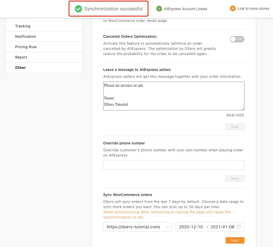 Sincronizar pedidos do WooCommerce com o Woo DSers - 8 - Woo DSers