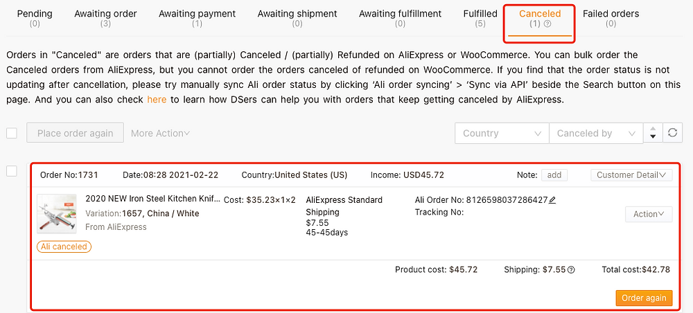 Re-order Awaiting fulfillment order on Woo DSers - Canceled tab - Woo DSers