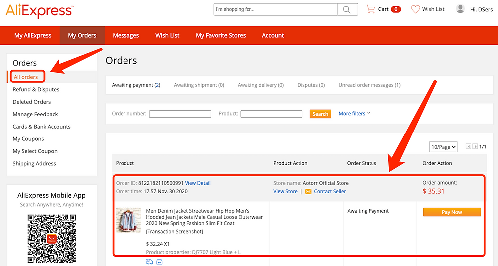 Place an order from WooCommerce to AliExpress with Woo DSers - Order in AliExpress - Woo DSers