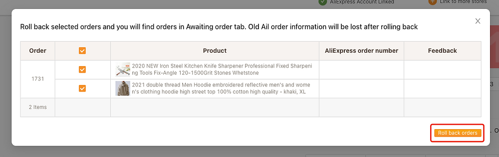 Re-order Awaiting fulfillment order on Woo DSers - Click on Roll back orders - Woo DSers