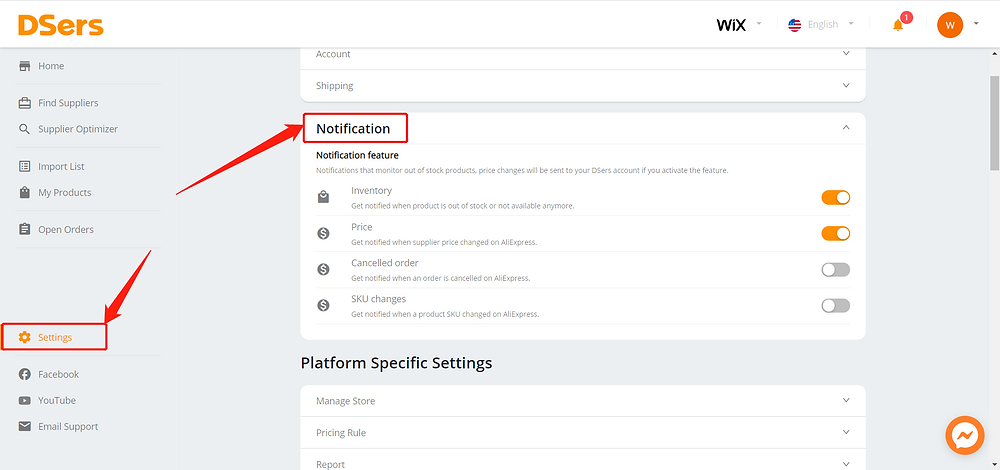 Set notifications for Wix DSers - activate notification - Wix DSers