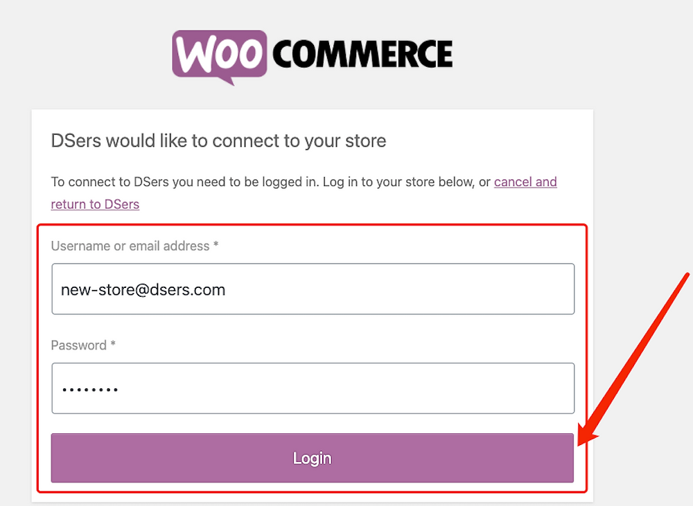 Add a WooCommerce store with Woo DSers - Login WooCommerce store - Woo DSers