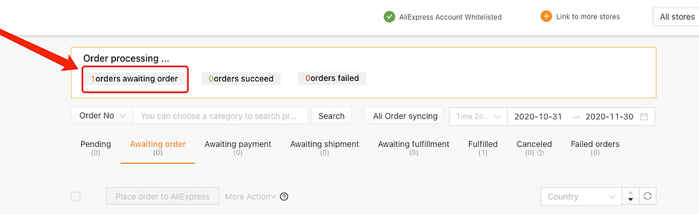 Place an order from WooCommerce to AliExpress with Woo DSers - Order Processing Awaiting Order - Woo DSers