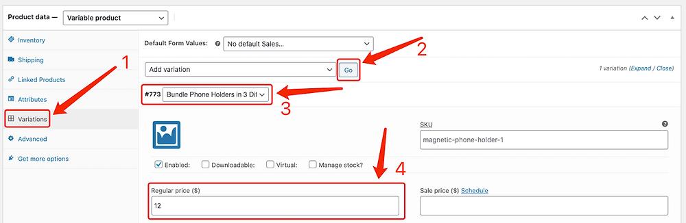 Create Bundles of products with Woo DSers - Edit variations - Woo DSers