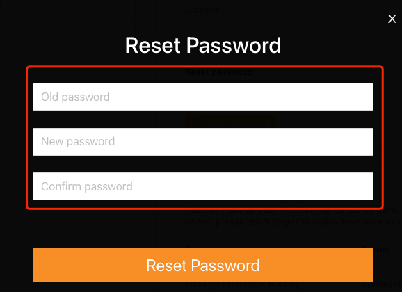 Change password with Woo DSers - Enter new Password - Woo DSers