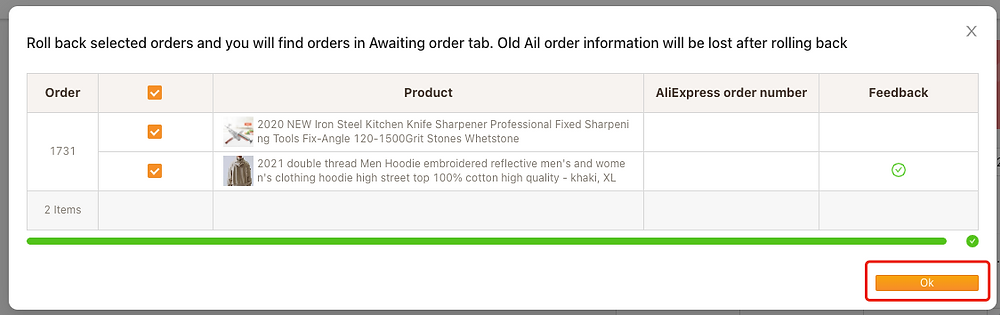 Cancel fulfillment of an order on Woo DSers - Click on OK - Woo DSers