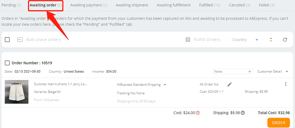 ancel fulfillment of an order on your Wix storewith Wix DSers - DSers status - Wix DSers