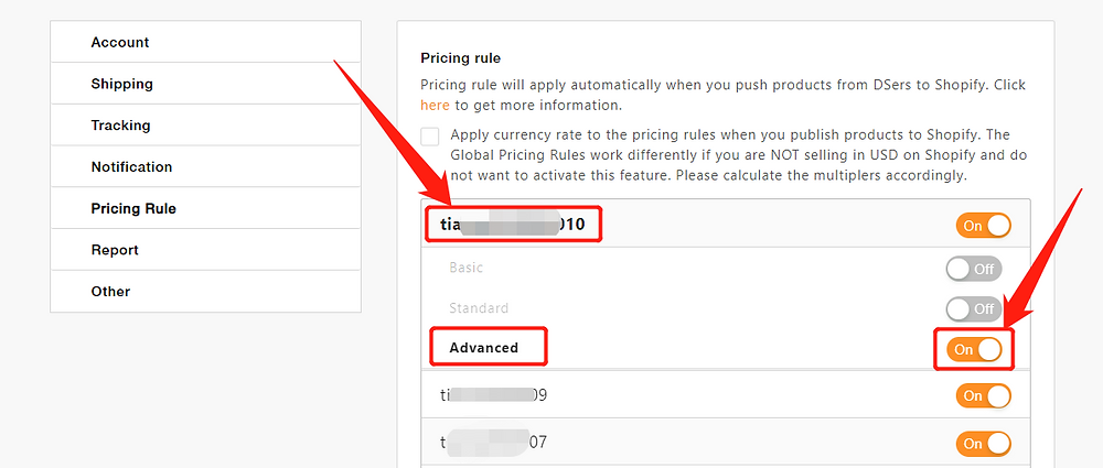 Advanced Pricing Rule with DSers - activate advanced pricing rule - DSers