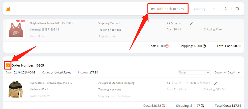 Orders not appearing on AliExpress with Wix DSers - roll back orders - Wix DSers