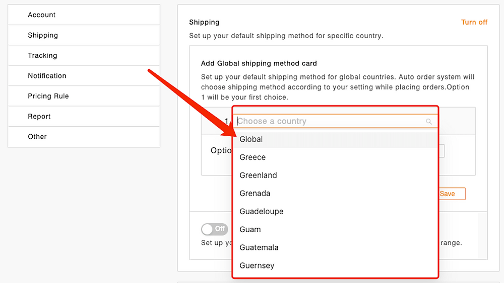 Set shipping method for all products with Woo DSers - Select destination country of your orders - Woo DSers