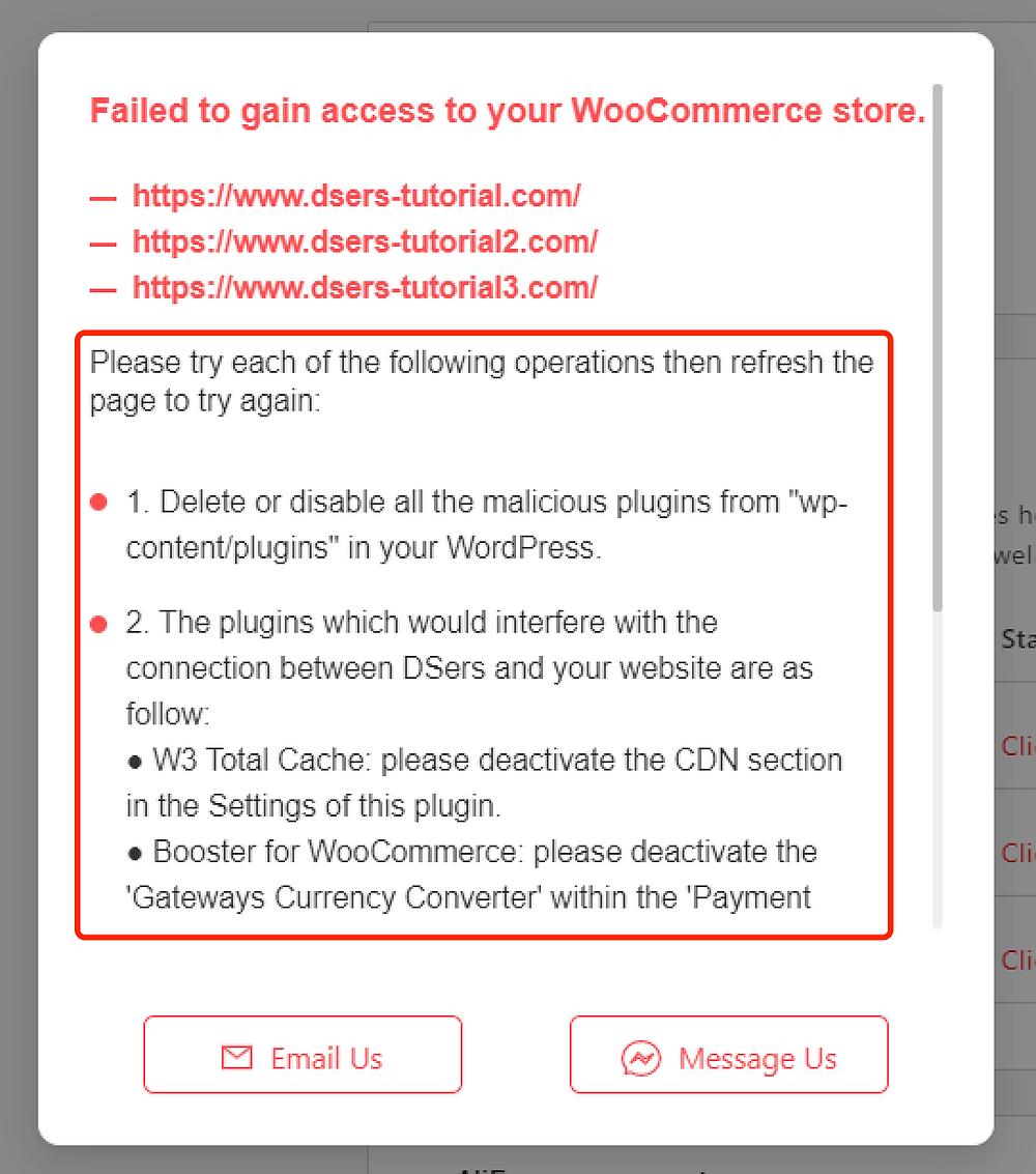 Why I can't push my product from Woo DSers to WooCommerce - Follow the steps from notification - Woo DSers