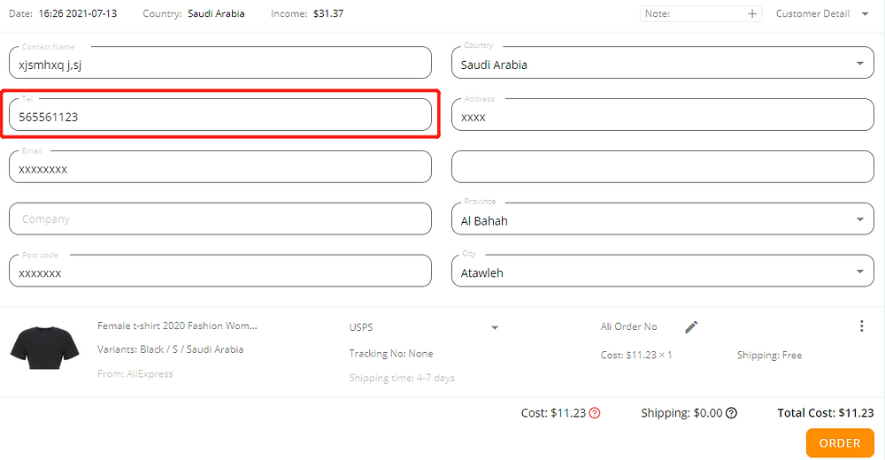 Orders to Saudi Arabia & UAE  specifications with Wix DSers - Enter a new phone number - Wix DSers