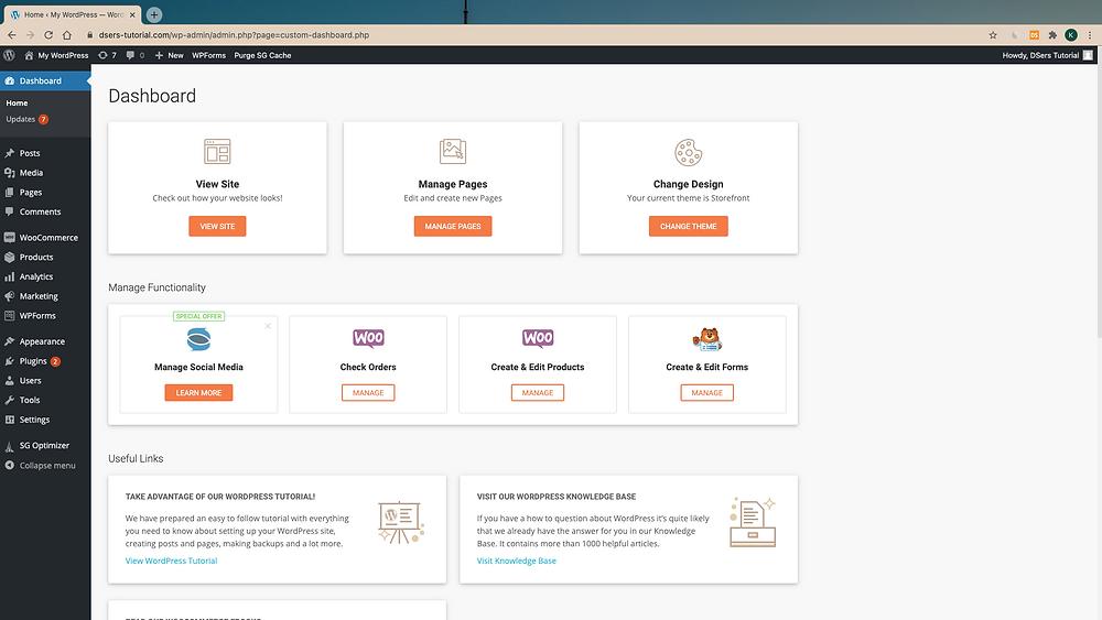 Install Woo DSers on WordPress - WordPress Admin Page - Woo DSers