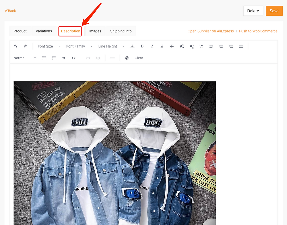 Edit a product on Woo DSers - Description - Woo DSers