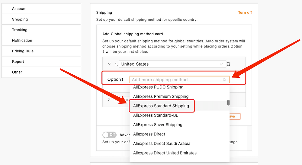 Set shipping method for all products with Woo DSers - Choose favorite shipping method - Woo DSers