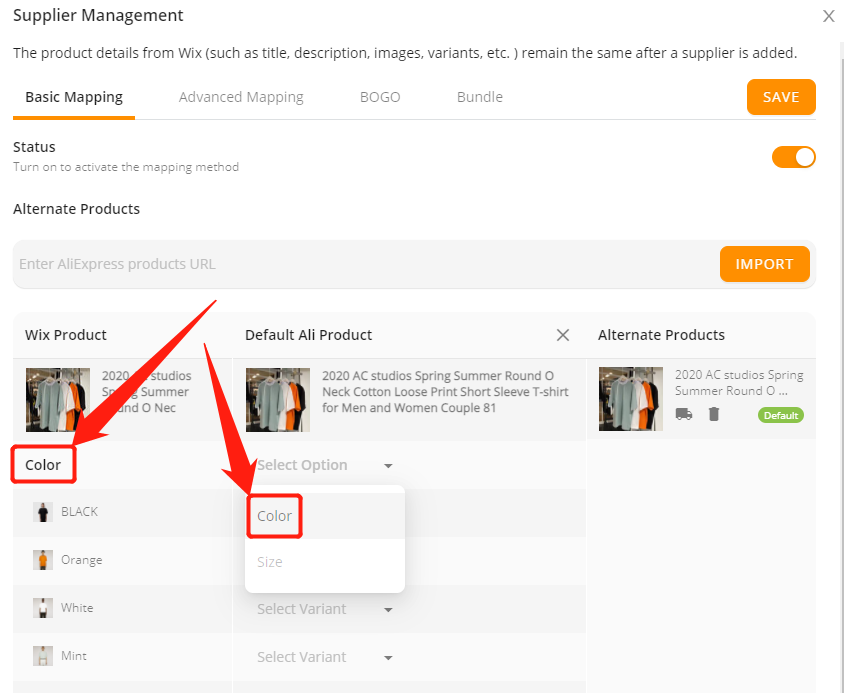 Connect AliExpress suppliers to your products with Wix DSers - Select attributes and variants - Wix DSers