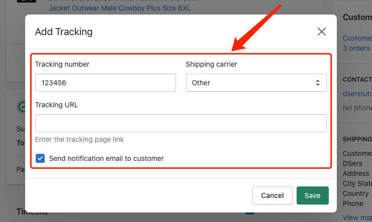 Send tracking number manually - Shopify Add Tracking Page - DSers