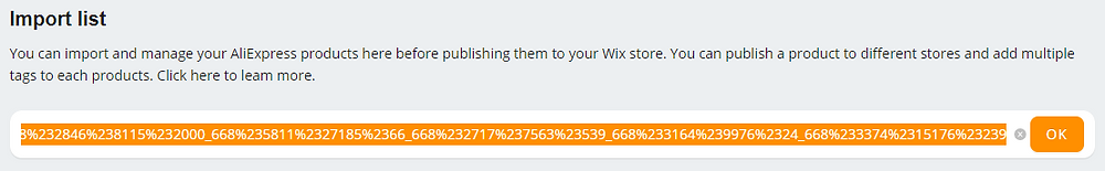 Import Product from AliExpress with Wix DSers - paste link - Wix DSers