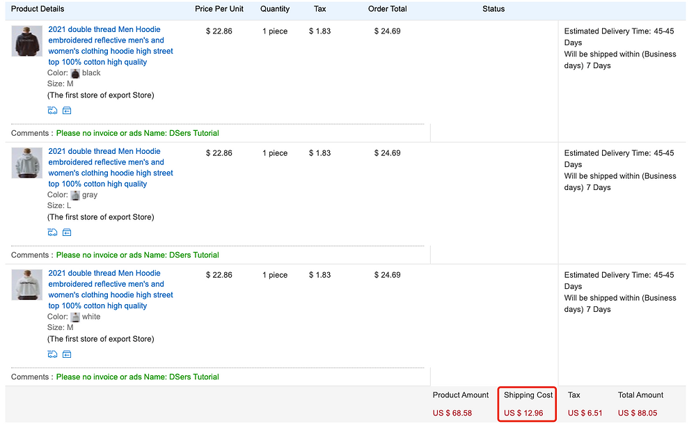 Shipping fees on Woo DSers - Shipping cost - Woo DSers
