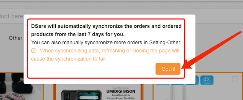Add a WooCommerce store with Woo DSers - Sync store data from last 7 days - Woo DSers