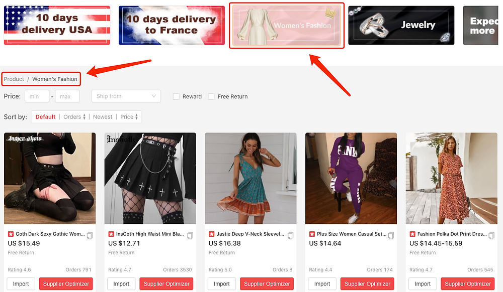 Find Suppliers with DSers - Women's Fashion - DSers