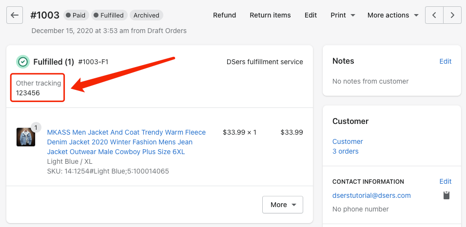 Send tracking number manually - Shopify Tracking Number - DSers
