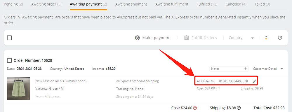 Re-order Awaiting payment orders with Wix DSers - Ali ordr number - Wix DSers