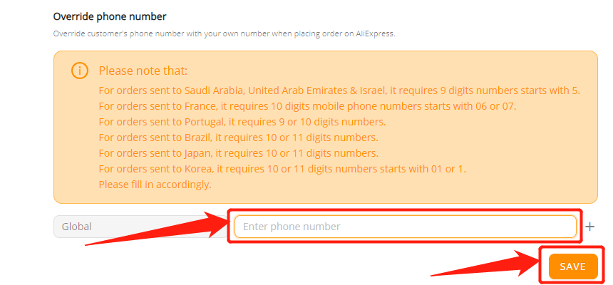 Orders to Saudi Arabia & UAE  specifications with Wix DSers - Delete phone number - Wix DSers