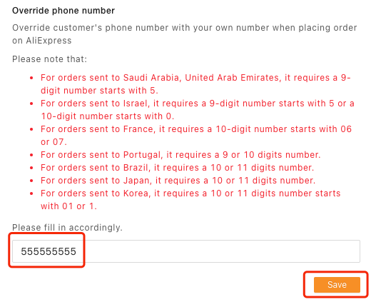 Orders to Saudi Arabia & UAE specifications with Woo DSers - Enter phone number - Woo DSers