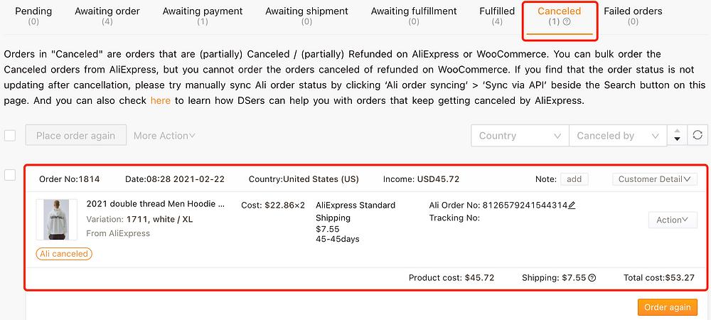 """Refazer pedido """"aguardando pagamento"""" com Woo DSers - 5 - Woo DSers"""