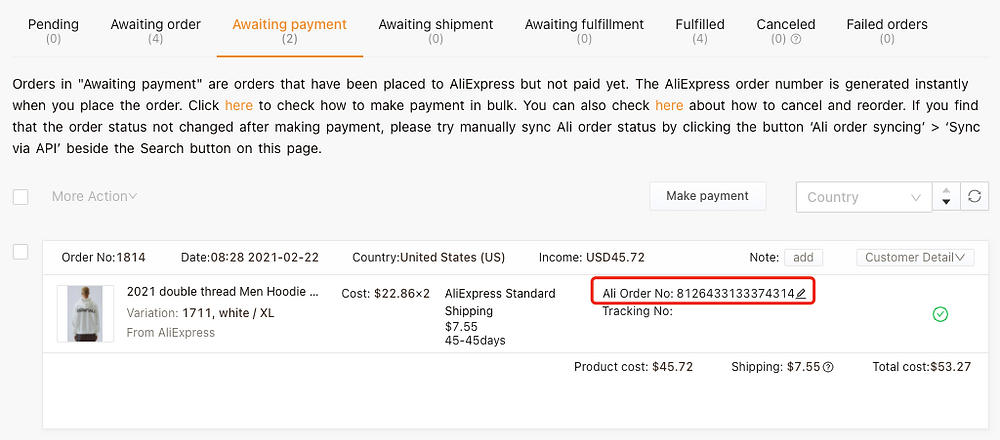 Re-order Awaiting payment orders on Woo DSers - AliExpress order number - Woo DSers