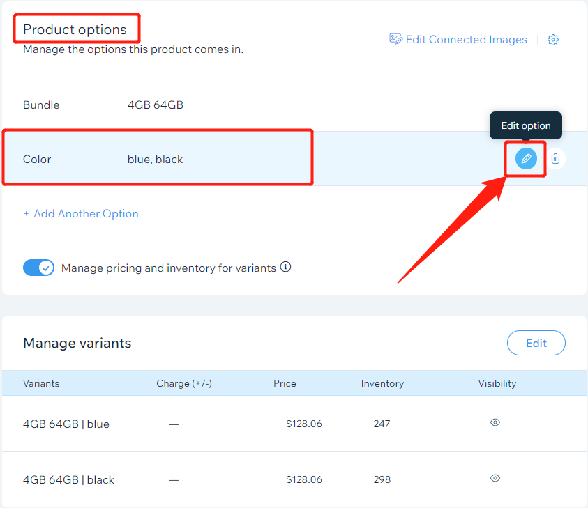 Add a variant to a product with Wix DSers - edit option - Wix DSers