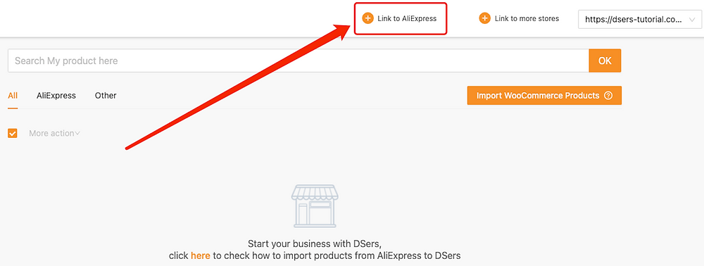 Link Woo DSers to AliExpress - Link to AliExpress - Woo DSers