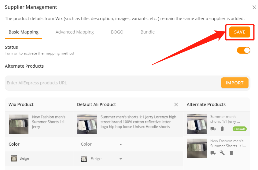 Change supplier of a product with Wix DSers - save changes - Wix DSers