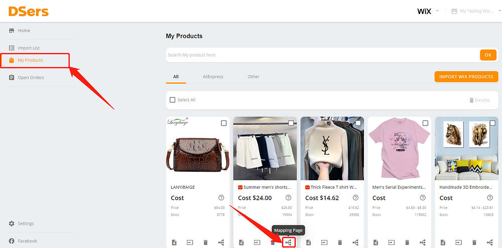 Connect multiple suppliers to one product with Wix DSers - my products - Wix DSers