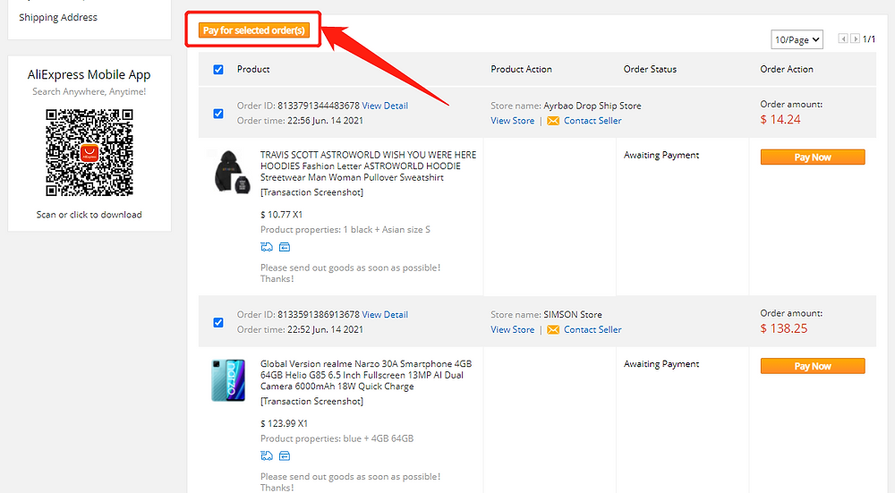 Pay multiple orders on AliExpress with Wix DSers - Pay for selected order - Wix DSers